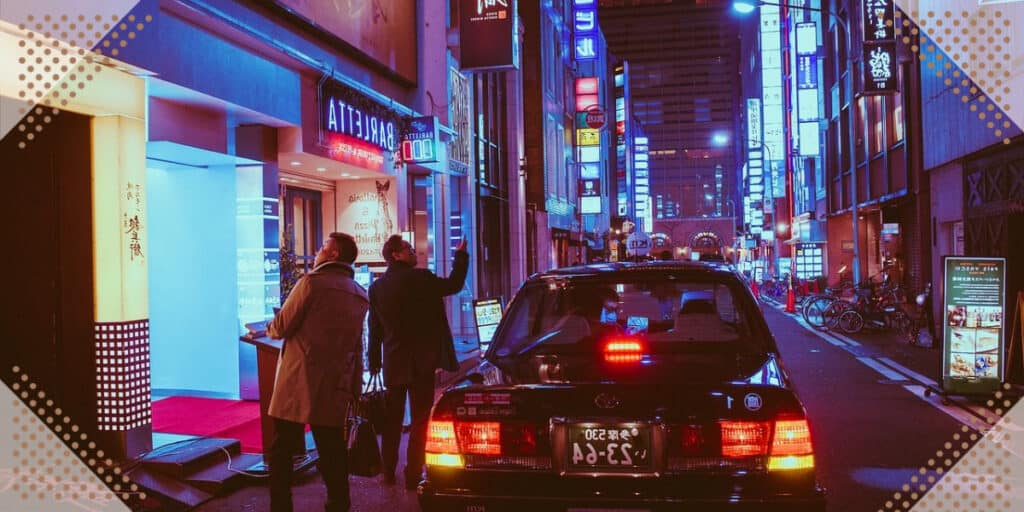 Car on the street in japan
