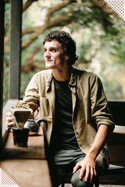 Max drinking coffee
